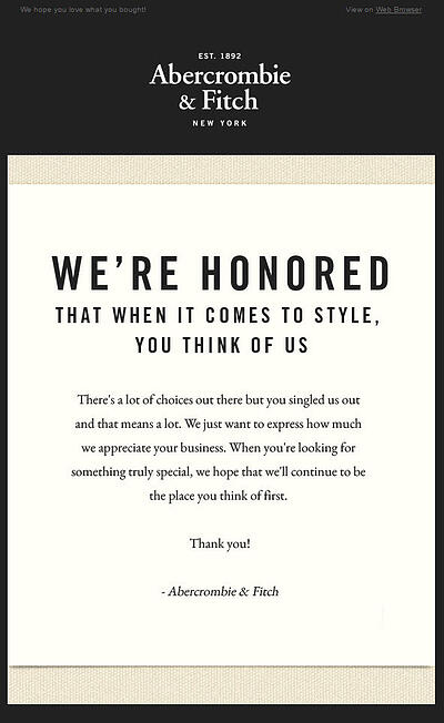 Ambercrombie & Fitch email marketing