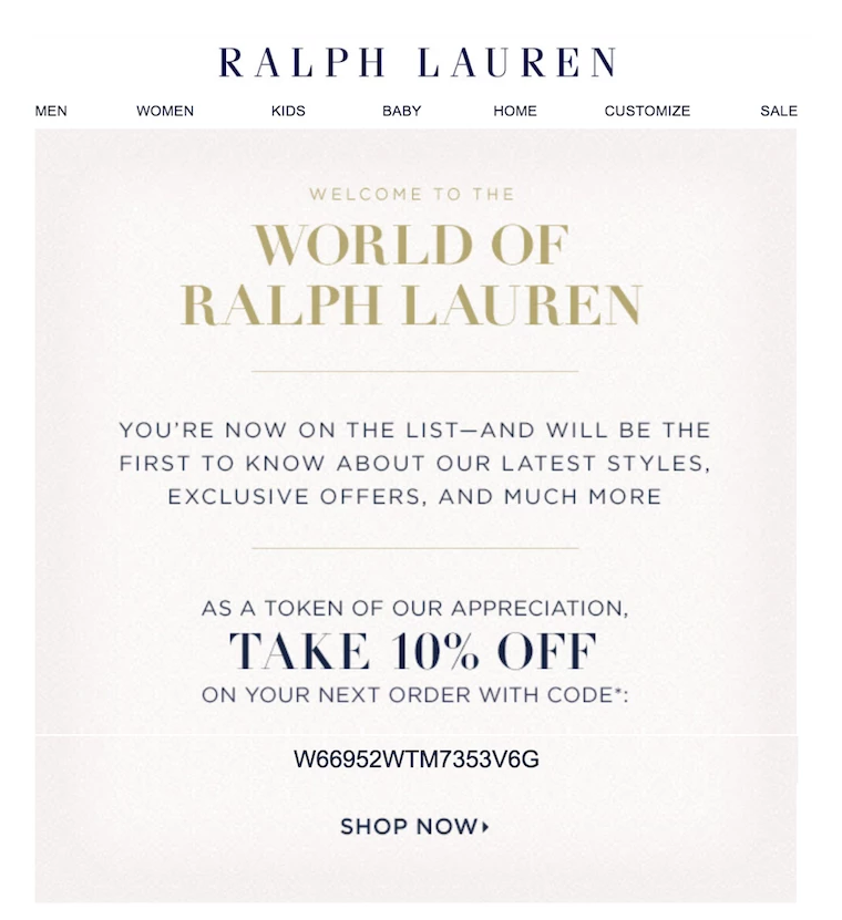 Welcome-Email-Ralph-Lauren